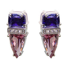 Trillion-Cut Spinel Tanzanite Diamond Gold Stud Earrings