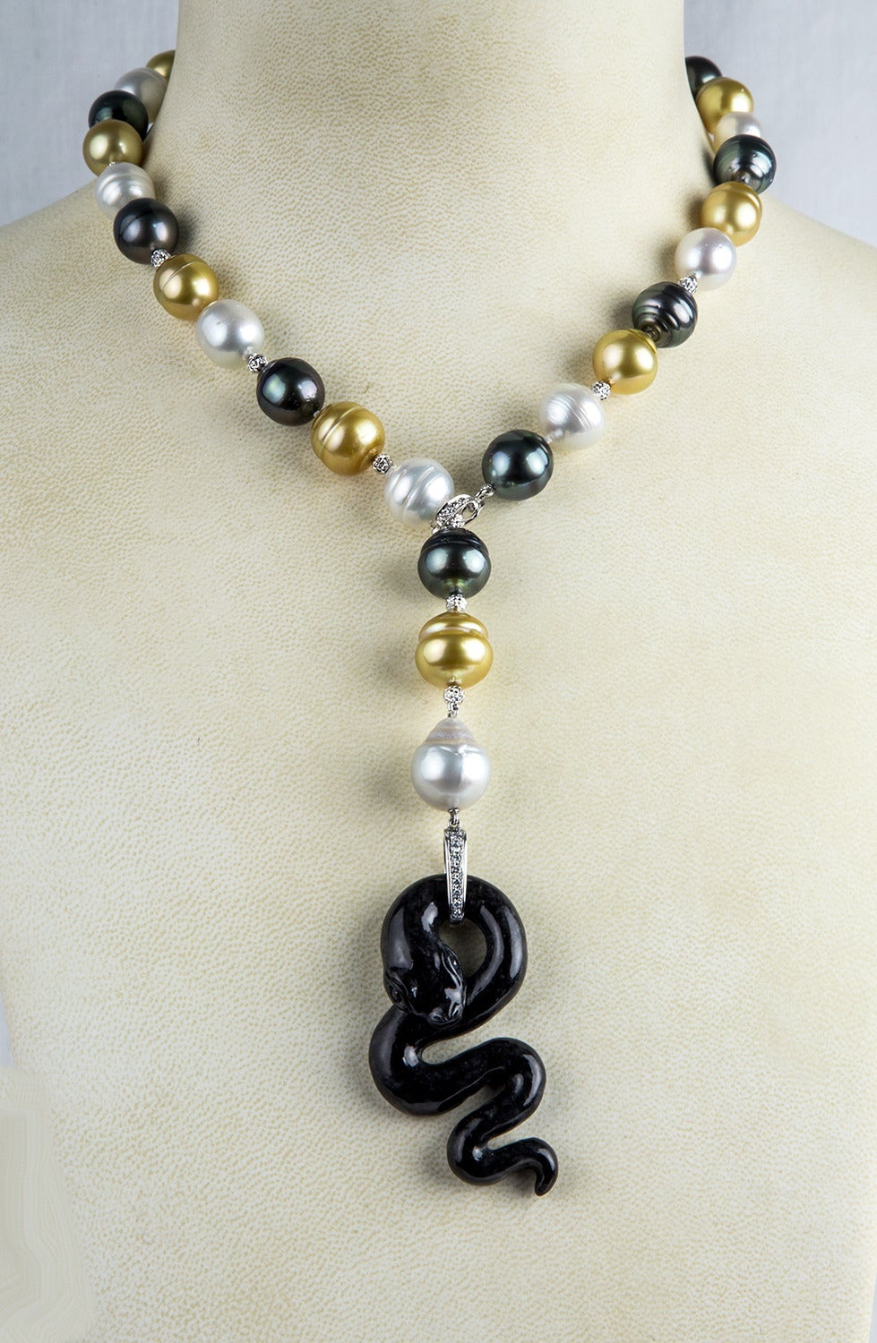 Black Jade Pearl Diamond Gold Snake Necklace 2