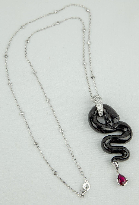 Black Jade Rubellite Diamond Gold Snake Statement Necklace 5