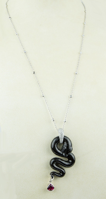 Black Jade Rubellite Diamond Gold Snake Statement Necklace 2