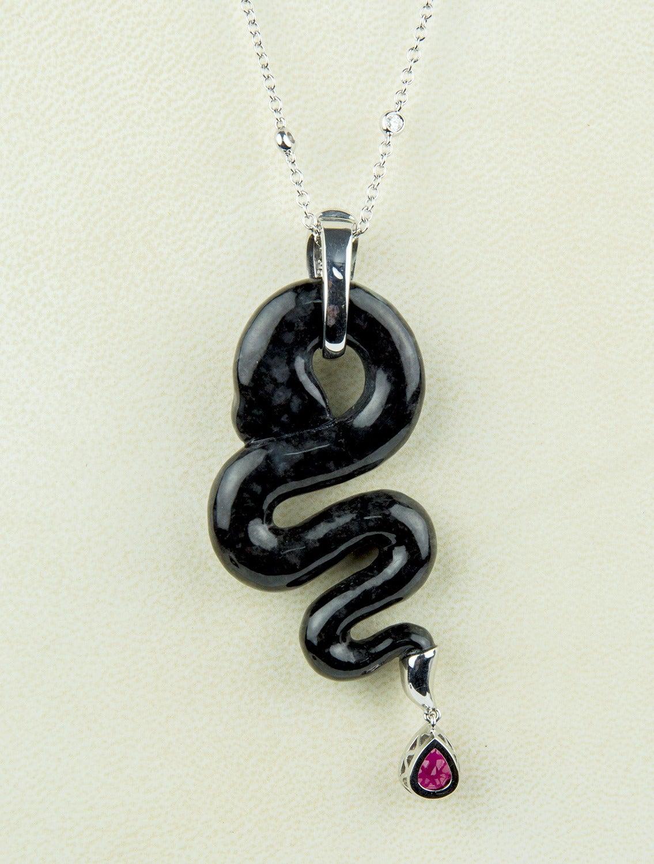 Black Jade Rubellite Diamond Gold Snake Statement Necklace 4