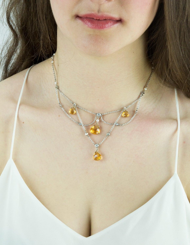 Diamond Citrine Briolette Pearl Gold Festoon Necklace 2