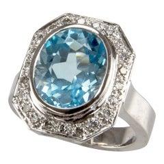 8.10 Carat Solitaire Blue Topaz Diamond Gold Ring Estate Fine Jewelry