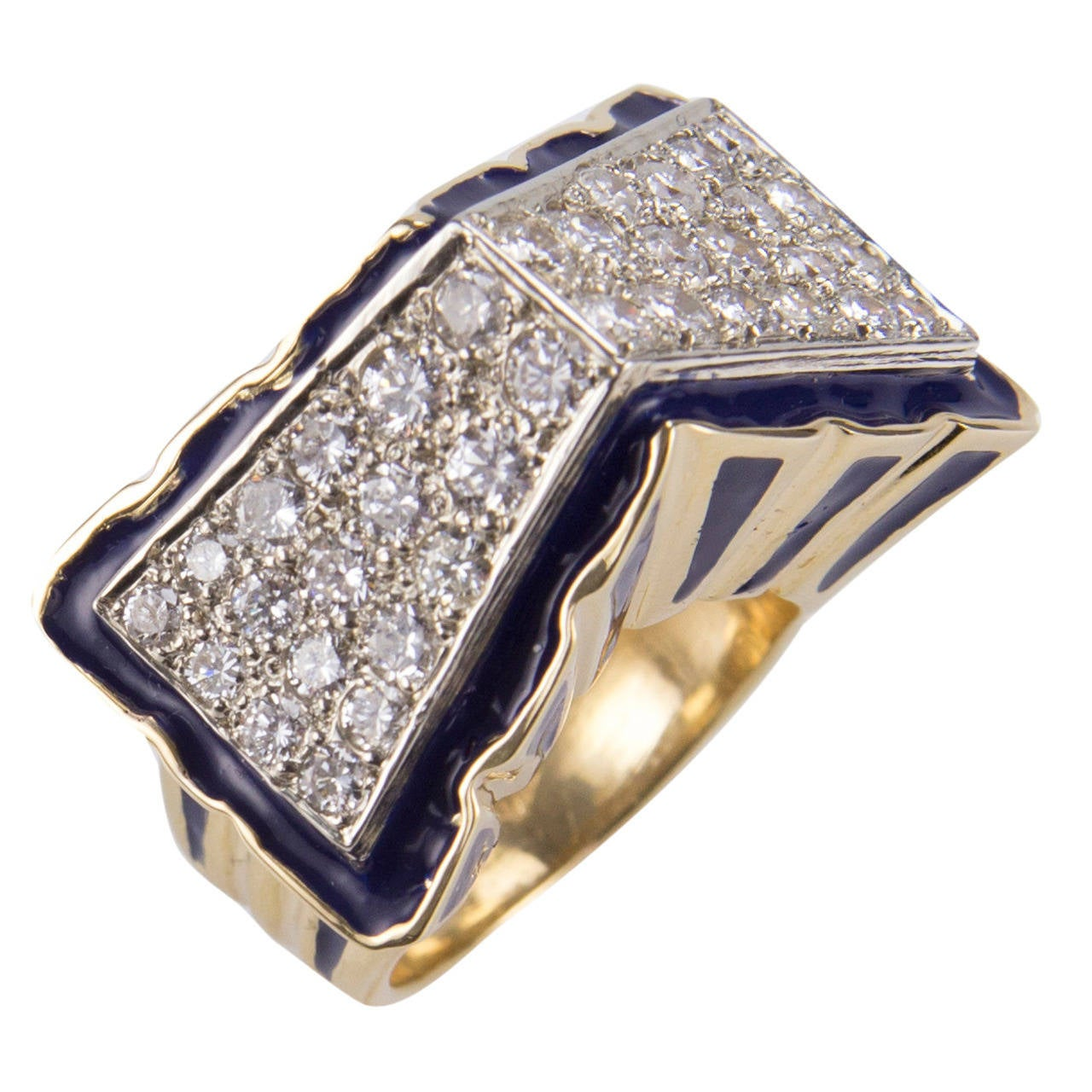 Diamond and Blue Enamel Gold Cocktail Statement Ring Estate Fine Jewelry