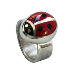 Walter Schluep Red Enamel Ladybug Sterling Silver Ring