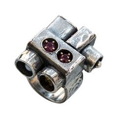 Walter Schluep Garnet Pearl Gold Sterling Silver Ring Estate Fine Jewelry