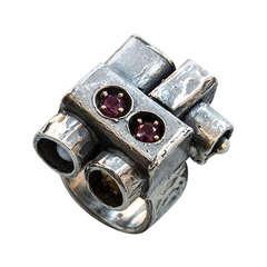 Walter Schluep Cubist Garnet Pearl Gold Sterling Silver Ring
