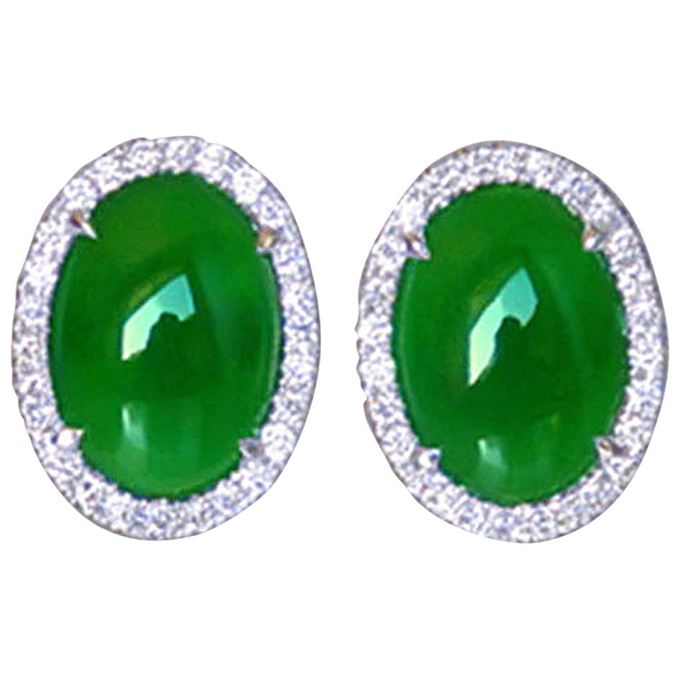 Natural Jade Diamond Gold Statement Earrings For Sale