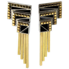 Erte Onyx Silver Gold Moderne Earrings