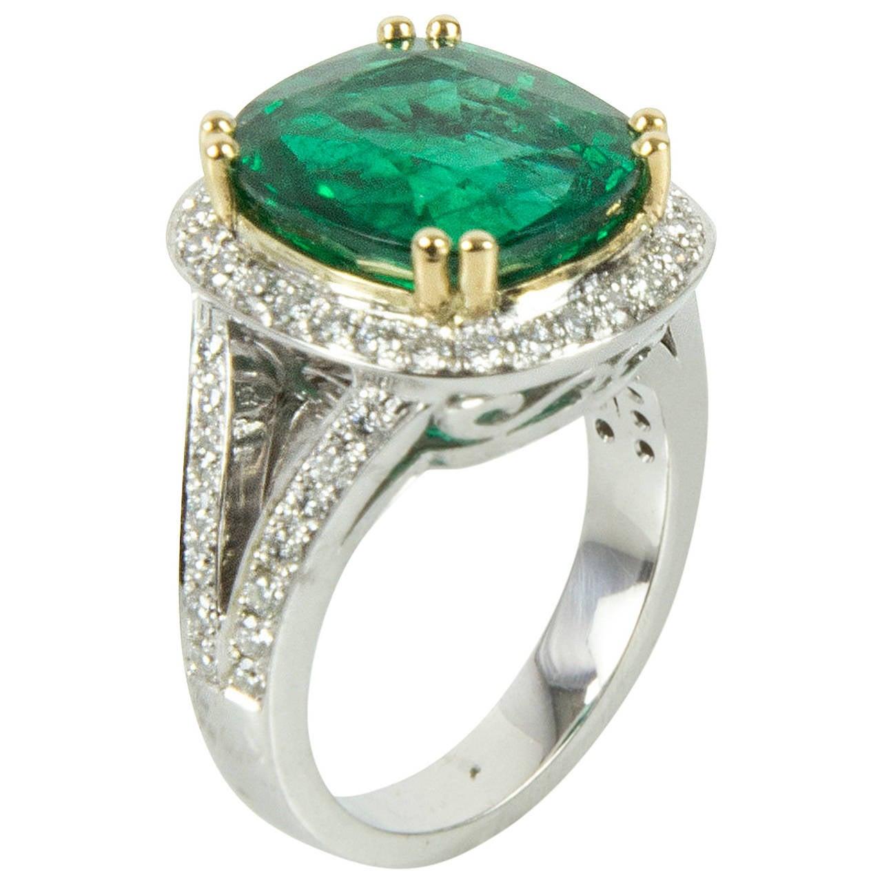 7.90 Carat Cushion Cut Emerald Diamond Gold Statement Ring