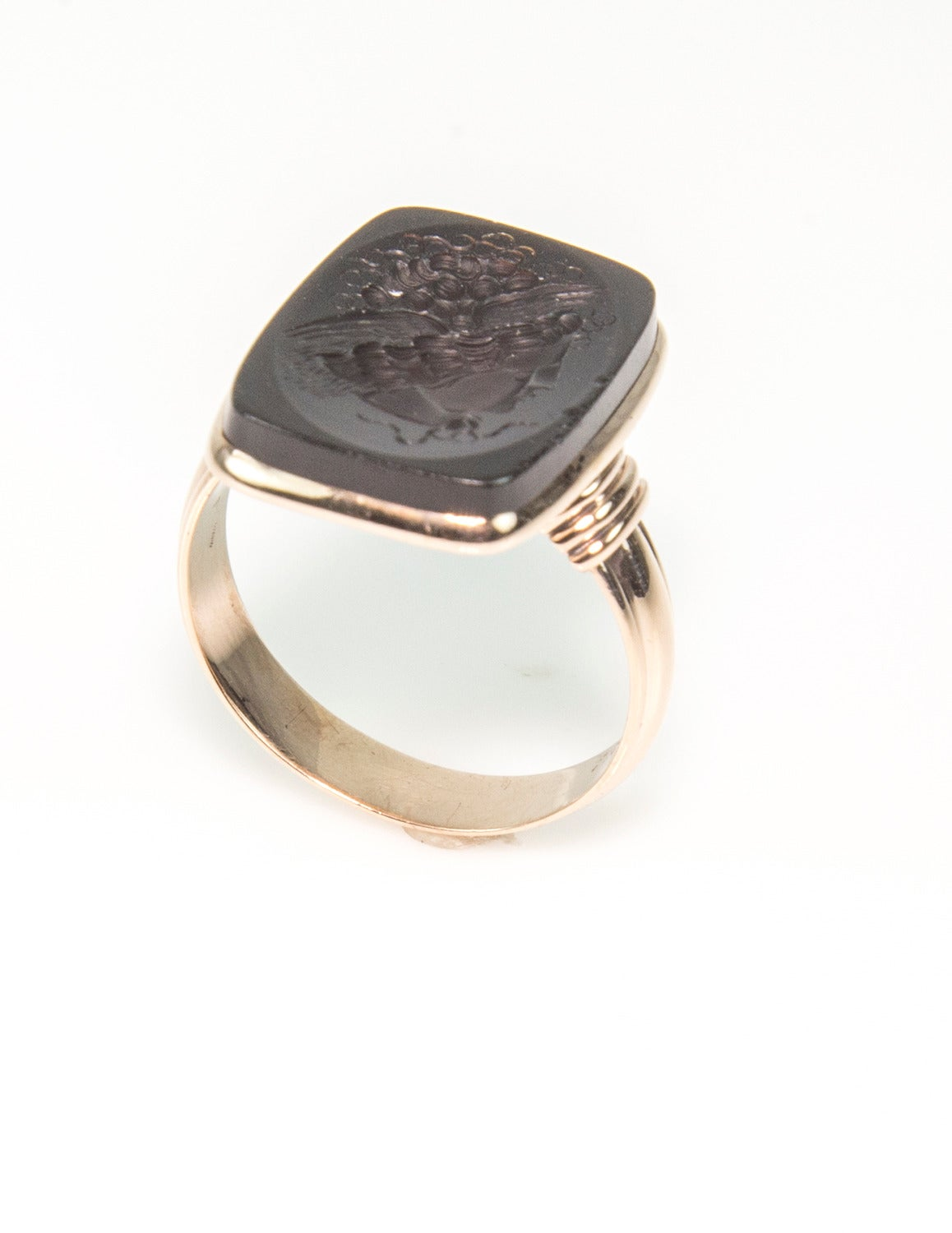 Victorian Brown Onyx Intaglio Signet Rose Gold Ring 2