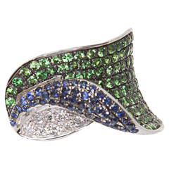 Sapphire Green Garnet Tsavorite Diamond Gold Band Ring