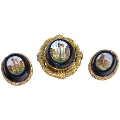 Victorian Micro Mosaic Brooch and Button Set