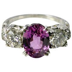 3.52 Carat Purple Sapphire Diamond Platinum Ring