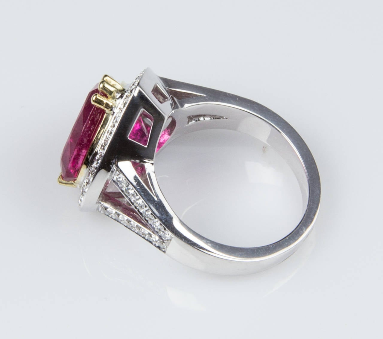 6.97 Carat Rubellite Heart Diamond Gold Statement Ring For Sale 1