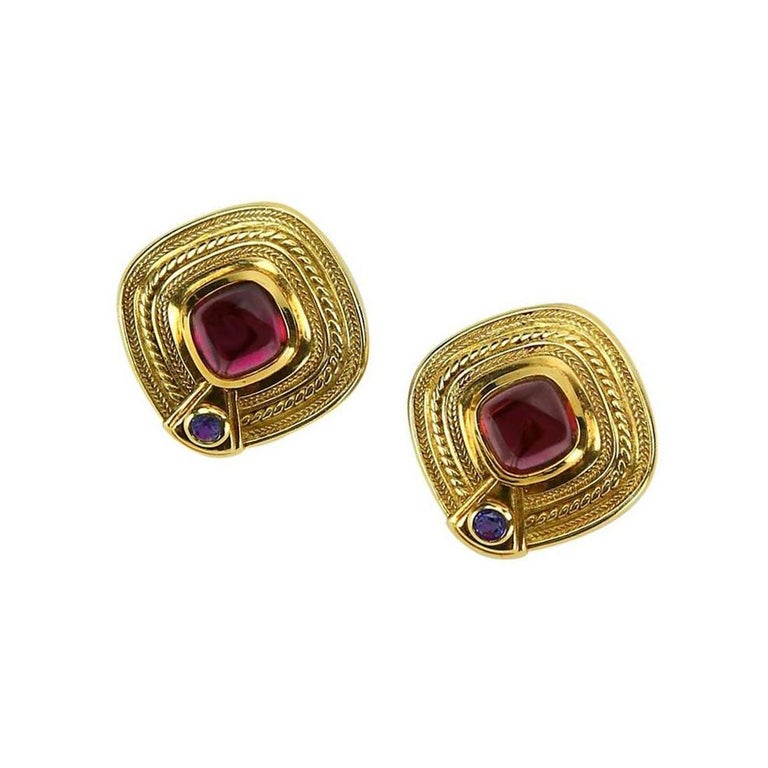 Modernist Seidengang Rhodolite Garnet Iolite Statement Gold Earrings For Sale