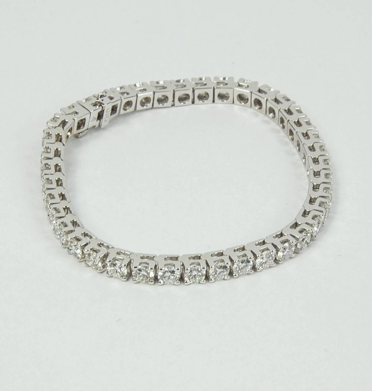 10 70 Carat Diamond Gold Line Tennis Bracelet For Sale At