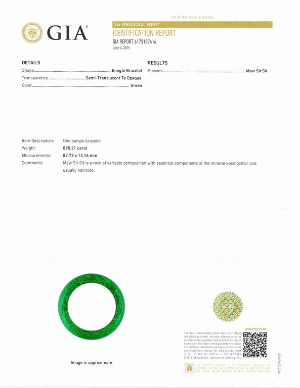 "Beautiful and Rare Bangle Bracelet, interior measurement t is 62mm=2.44094. Genuine Natural untreated deep emerald green color with ""fine texture"" was named the ""Circle of Heaven"" not only for its circular form, representing the idea of unity, but"