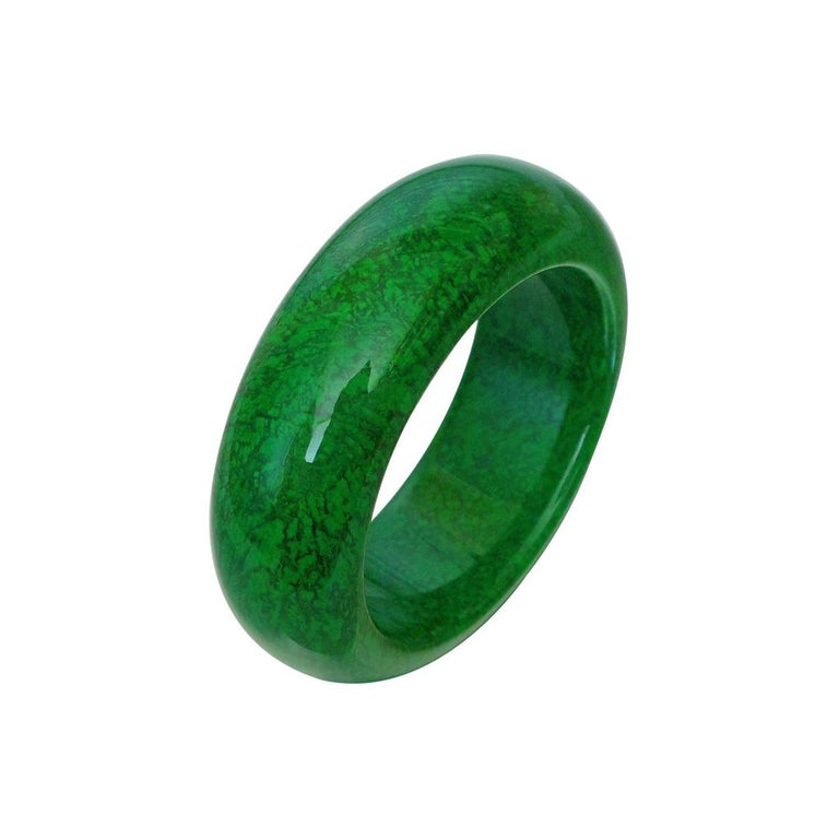 Natural Maw-Sit-Sit Jade Statement Bangle Bracelet In New Condition For Sale In Montreal, QC
