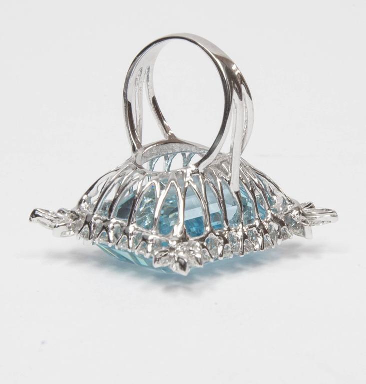 Modernist 47 Carat Natural Aquamarine Diamond Platinum Ring For Sale