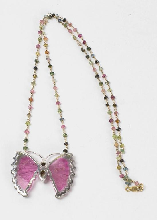 Beautiful Watermelon Tourmaline and Diamond Gold Butterfly Necklace 4