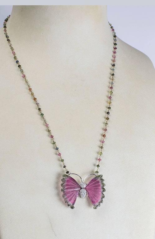 Beautiful Watermelon Tourmaline and Diamond Gold Butterfly Necklace 3