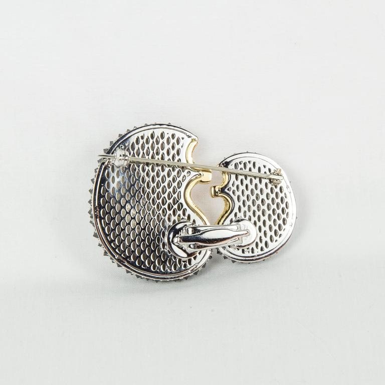 Contemporary Mother and Baby Hedgehog Black Diamond Gold Statement Brooch Pin For Sale