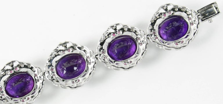 Contemporary 14.22 Carat Amethyst Diamond Ruby Statement Gold Bracelet For Sale