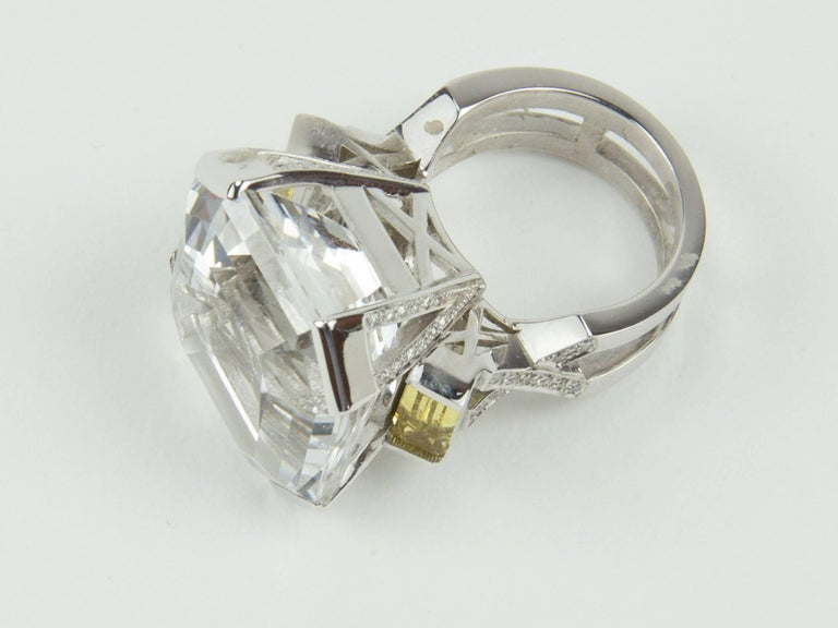 47.40 Carat Asscher Cut White Topaz Diamond Gold Ring 2