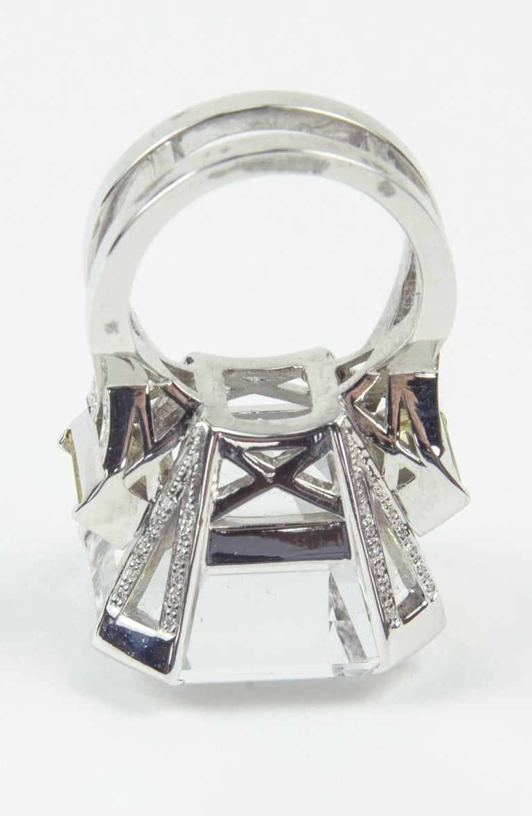 47.40 Carat Asscher Cut White Topaz Diamond Gold Ring 5