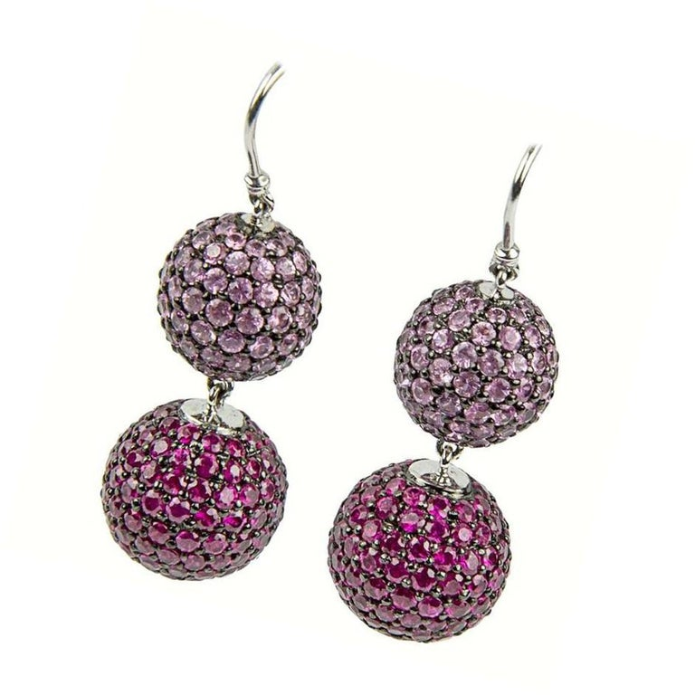 ruby pink sapphire pav233 gold ball drop earrings for sale