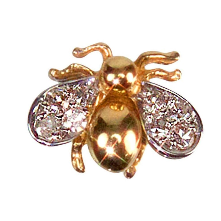 Modernist Diamond Gold Fly Brooch Pin Estate Fine Jewelry For Sale