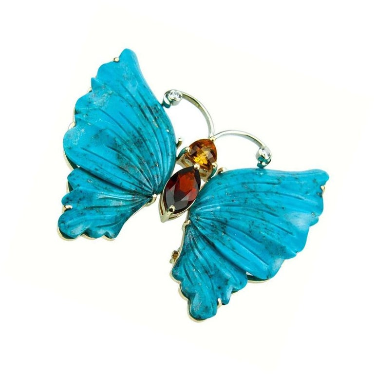 Turquoise Gold Butterfly Statement Brooch Pin Pendant In New Condition For Sale In Montreal, QC