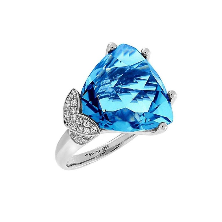 Mixed Cut Swiss Blue Topaz Diamond Gold Ring Estate Fine Jewelry For Sale