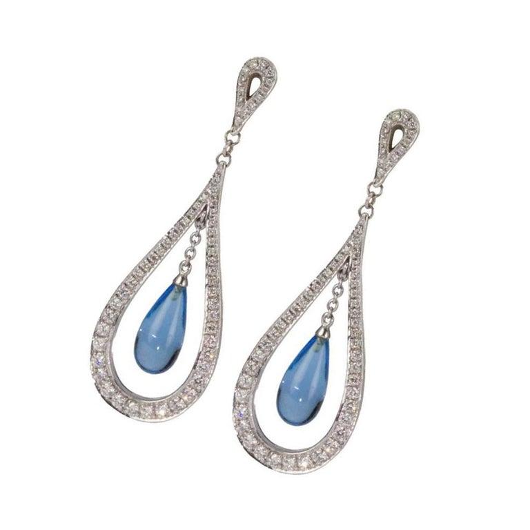Modernist Blue Topaz Diamond Gold Dangle Statement Earrings For Sale