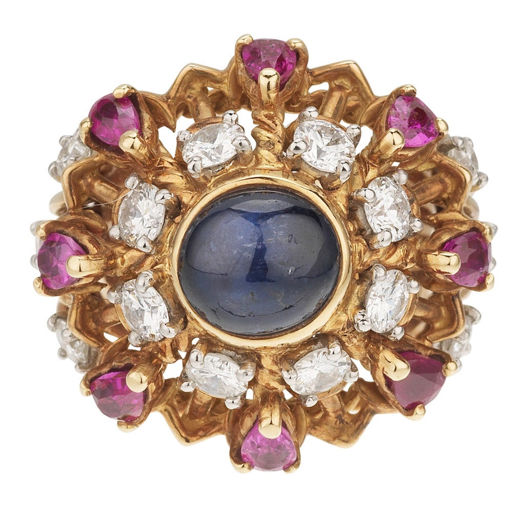 Marchak Paris Sapphire Ruby Diamond Ring 1950's at 1stdibs