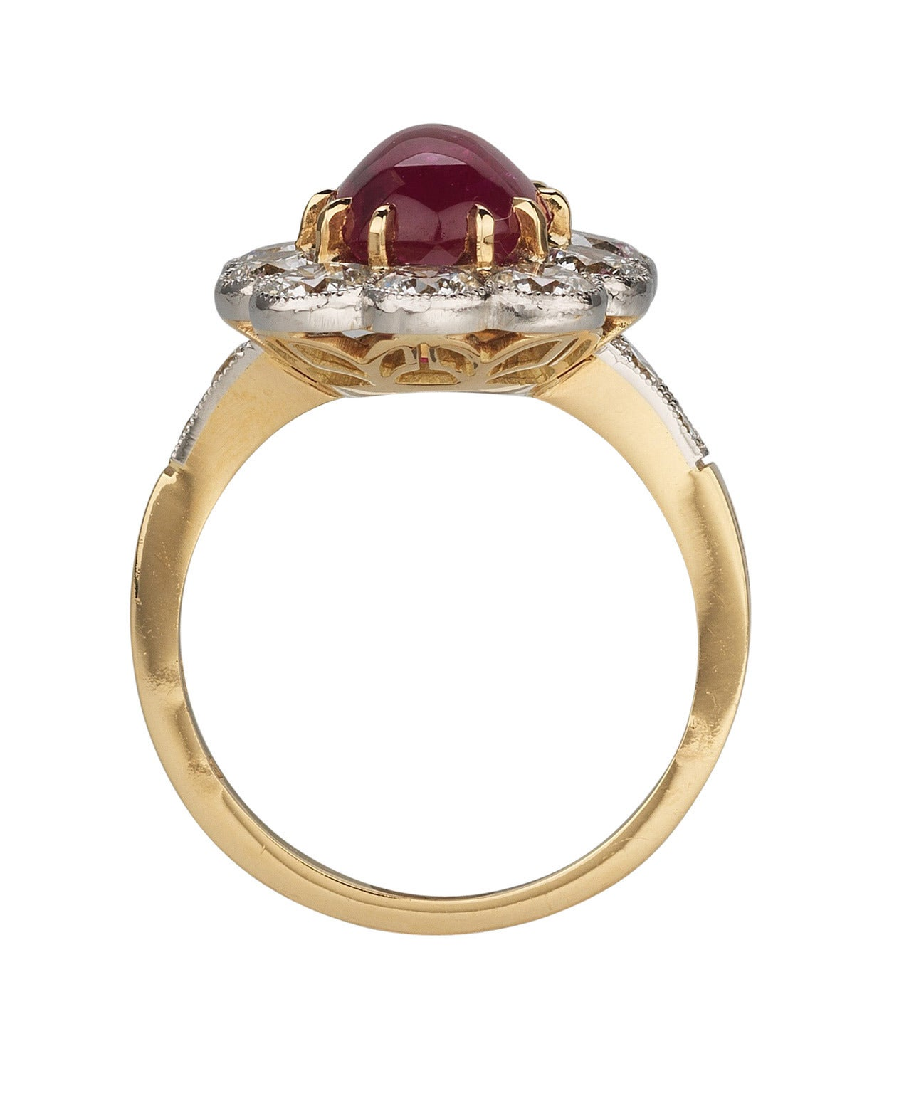 French Cabochon Ruby Diamond Gold Platinum Cluster Ring For Sale