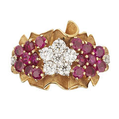 1940s Retro French Ruby Diamond Gold Platinum Flower Bouquet Ring