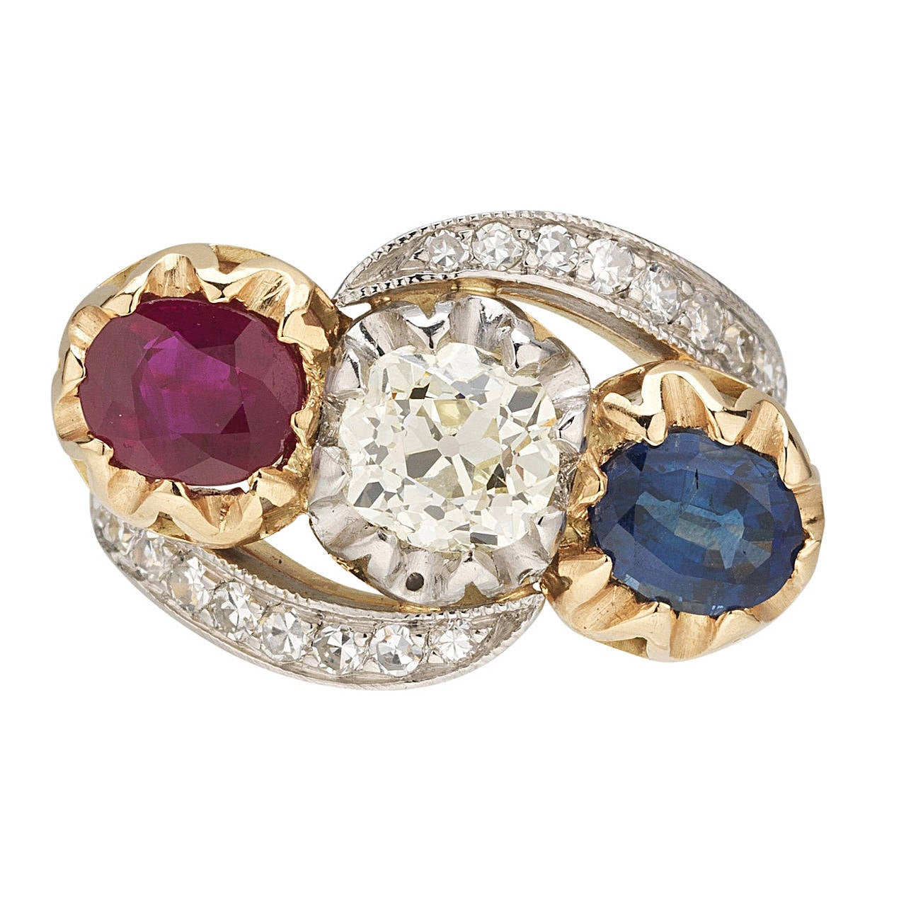 Edwardian Sapphire Ruby Old Mine Cut Diamond Gold Platinum