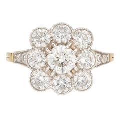French Diamond Gold Platinum Cluster Ring
