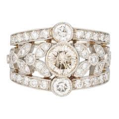 Diamond Foliage Pattern Platinum Ring
