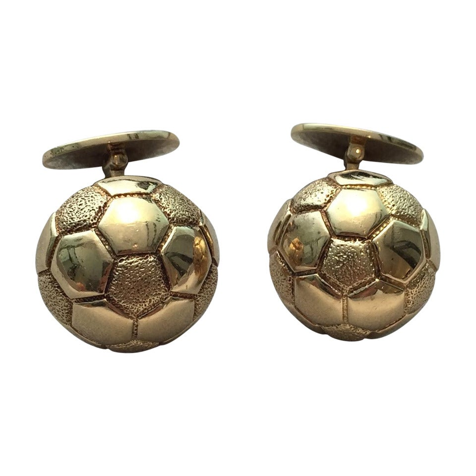 Hermes Paris Gold Soccer Ball Cufflinks