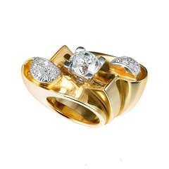 1940s French Retro Impressive Diamond Yellow Gold Platinum Ring