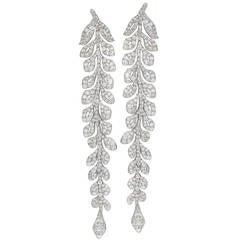 Pair of Diamond Platinum Pendant Earrings