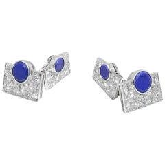 Van Cleef & Arpels Lapis Lazuli Diamond Platinum Cufflinks