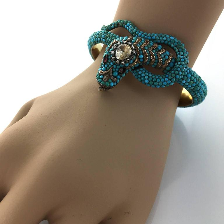 1850 Turquoise Garnet Diamond Gold Snake Bangle 2