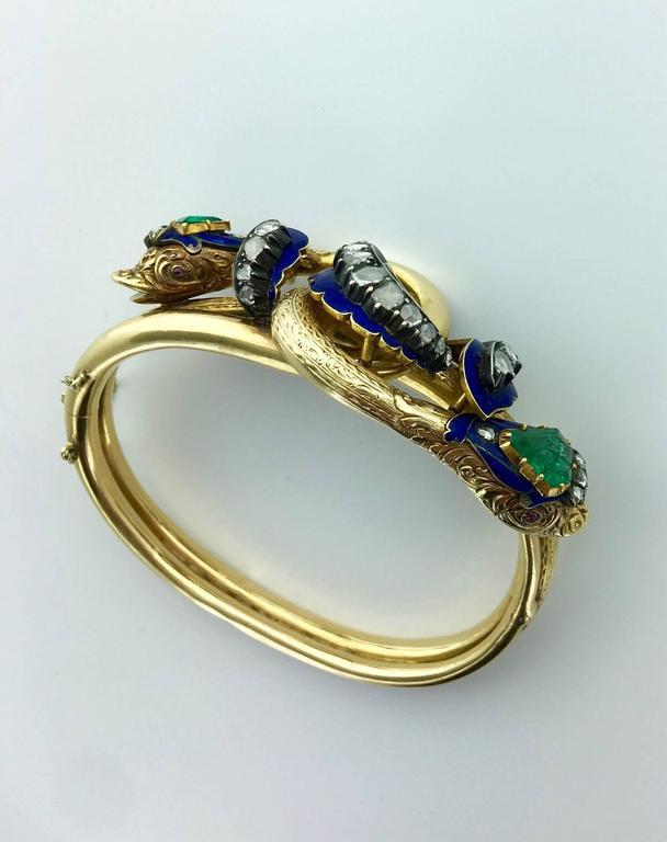 Antique Enamel Emerald Diamond Gold Entwined Snakes