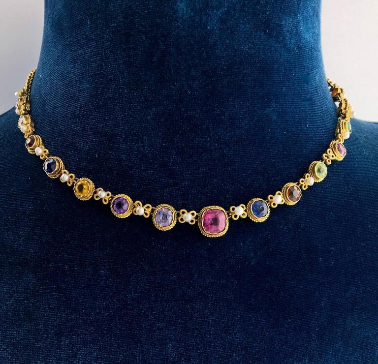 Antique Multi Gem Natural Pearl Gold Necklace For Sale At