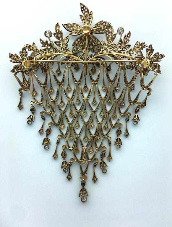 Impressive Diamond Flower En Tremblant Stomacher Hair Ornament Brooch 3