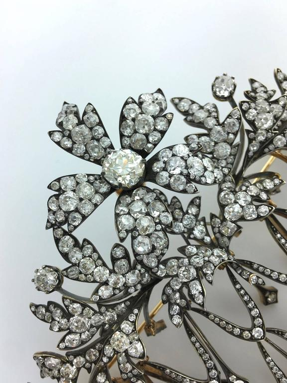 Impressive Diamond Flower En Tremblant Stomacher Hair Ornament Brooch 5